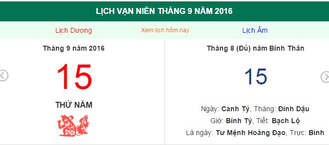 Trung Thu 2016 ngày bao nhiêu theo dương lịch